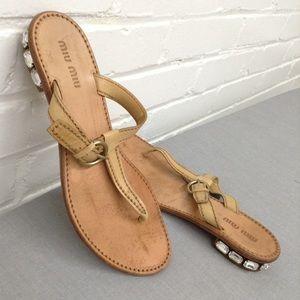 Miu Miu Tan Leather Jeweled Heel Sandals Size 7.5